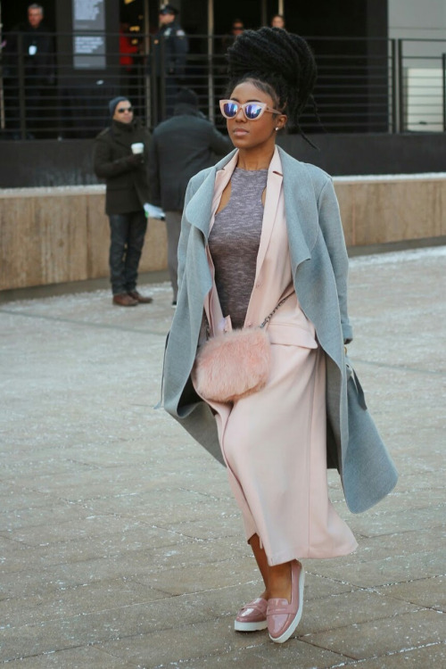 Street style, double coats, pink sunglasses and amazing hairstyle