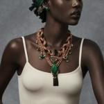 Ajak Deng headscarf, necklace, bracelets for Mimco