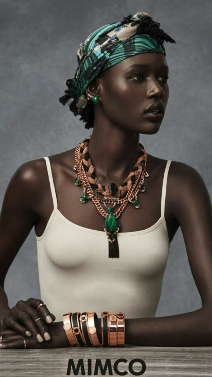 Ajak Deng headscarf, necklace, bracelets for Mimco