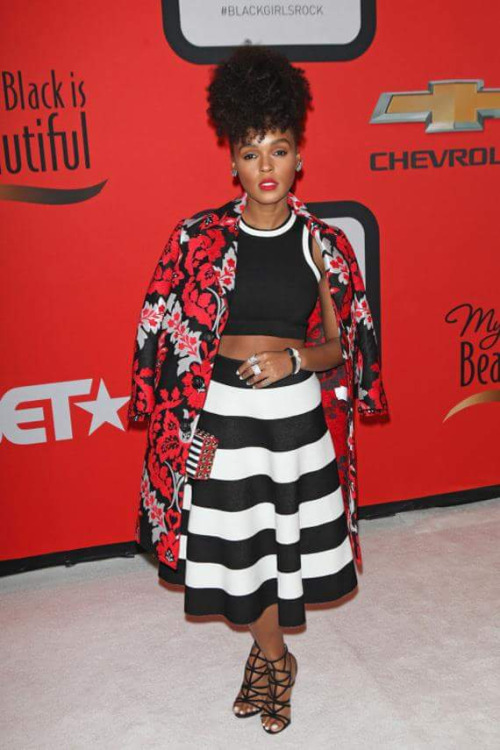 Janelle Monae stripped skirt and flowered coat