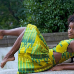 Dancer Ingrid Silva wears a nice yellow and green dress