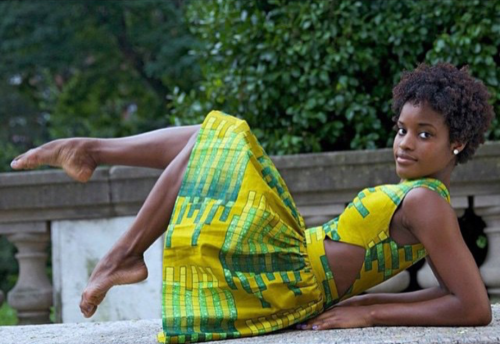 Dancer Ingrid Silva wears a nice yellow and green dress