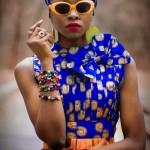 African fashion : dress and headscarf, sunglasses, bracelets...
