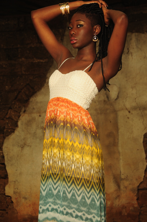 African Fashion nice colored dress and locs hairstyle