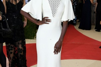 Danai Gurira nice white dress at Met Gala 2016