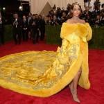 Rihanna yellow dress and hairstyle at Met Gala 2016