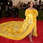 Rihanna yellow dress and nice hairstyle at Met Gala 2016