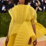 Solange yellow dress and natural hairstyle at Met Gala 2016