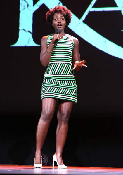 Lupita Nyong'o nice short stripped white and green dress